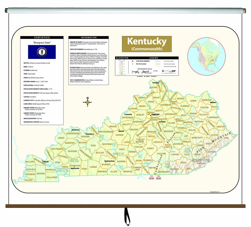 Kentucky Large Scale Shaded Relief Wall Map on Roller