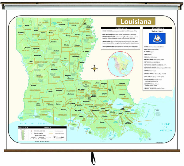 Louisiana Large Scale Shaded Relief Wall Map on Roller with Backboard