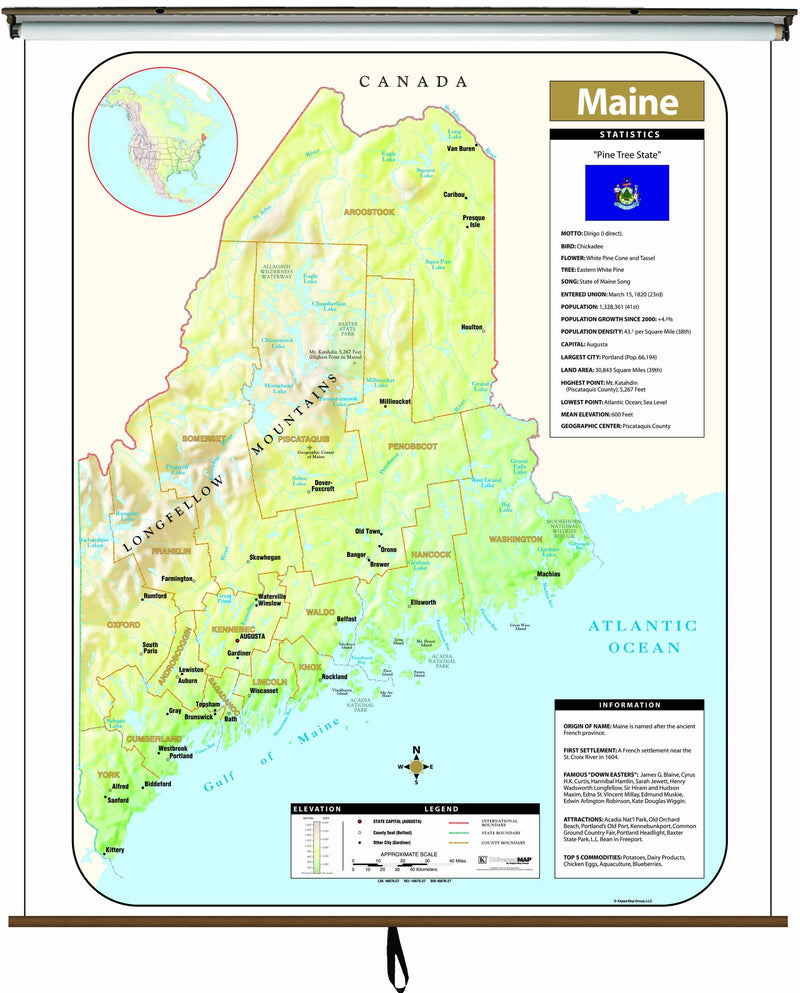 Maine Large Scale Shaded Relief Wall Map on Roller with Backboard