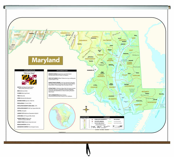 Maryland Large Scale Shaded Relief Wall Map on Roller