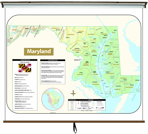 Maryland Large Scale Shaded Relief Wall Map on Roller with Backboard