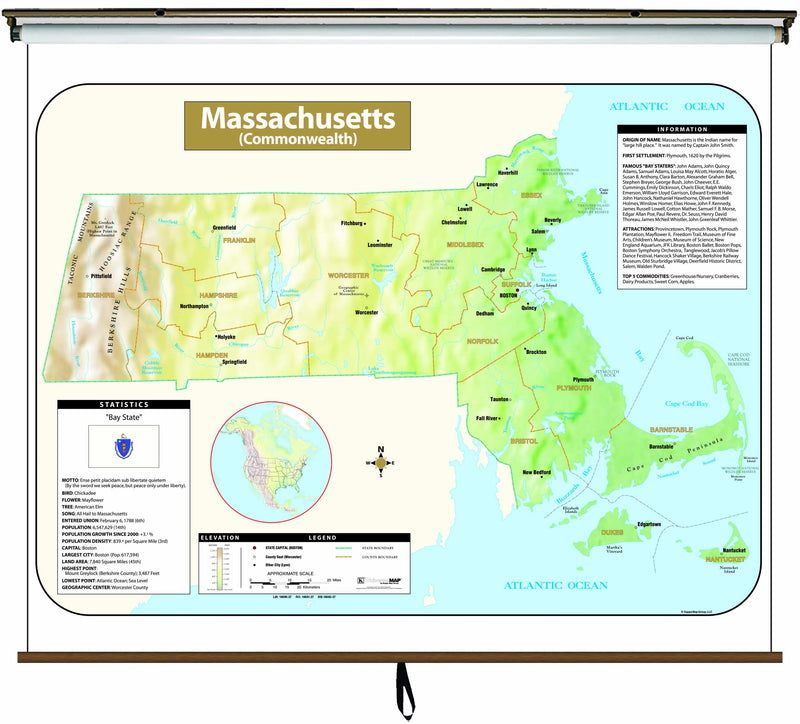 Massachusetts Large Scale Shaded Relief Wall Map on Roller with Backboard