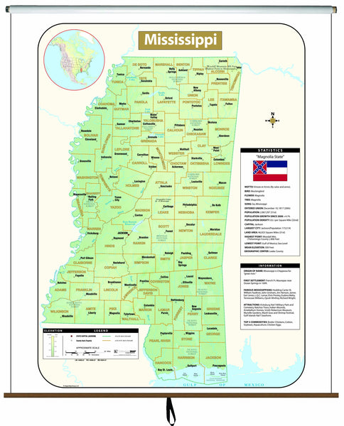 Mississippi Large Scale Shaded Relief Wall Map on Roller