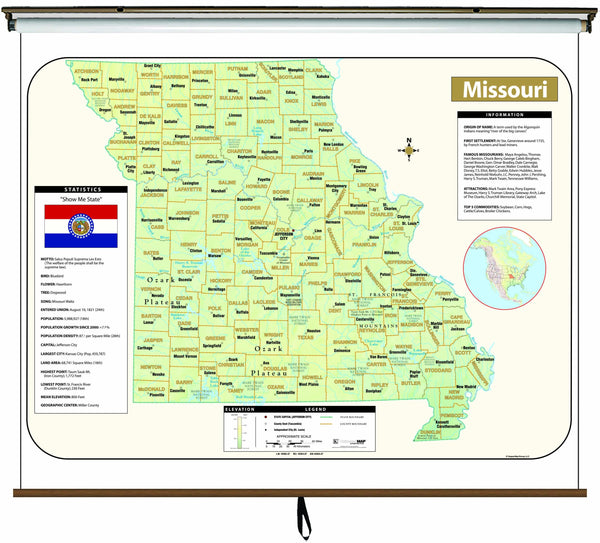 Missouri Large Scale Shaded Relief Wall Map on Roller with Backboard