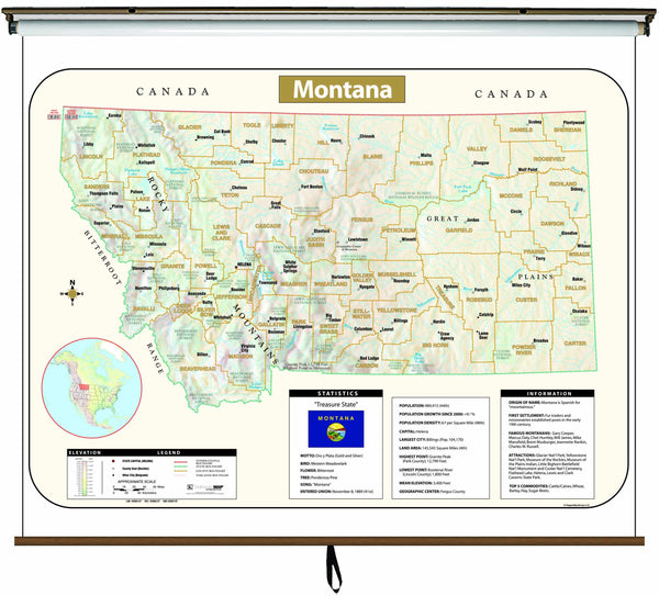 Montana Large Scale Shaded Relief Wall Map on Roller with Backboard