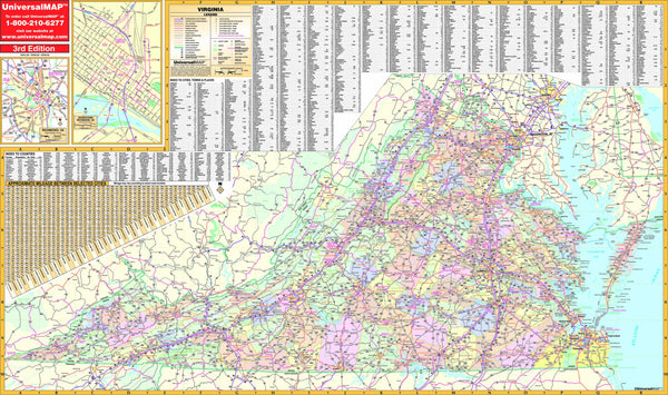 Virginia State Wall Map