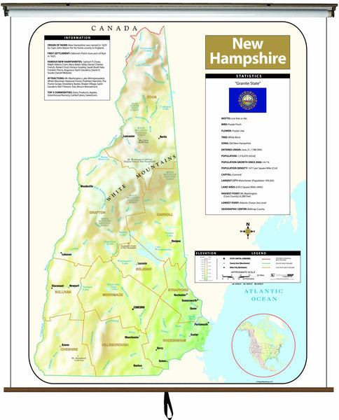 New Hampshire Large Scale Shaded Relief Wall Map on Roller with Backboard