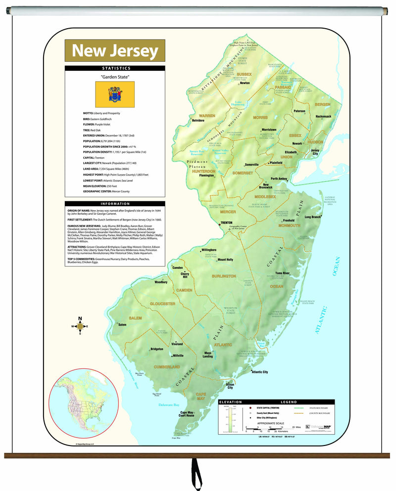 New Jersey Large Scale Shaded Relief Wall Map on Roller