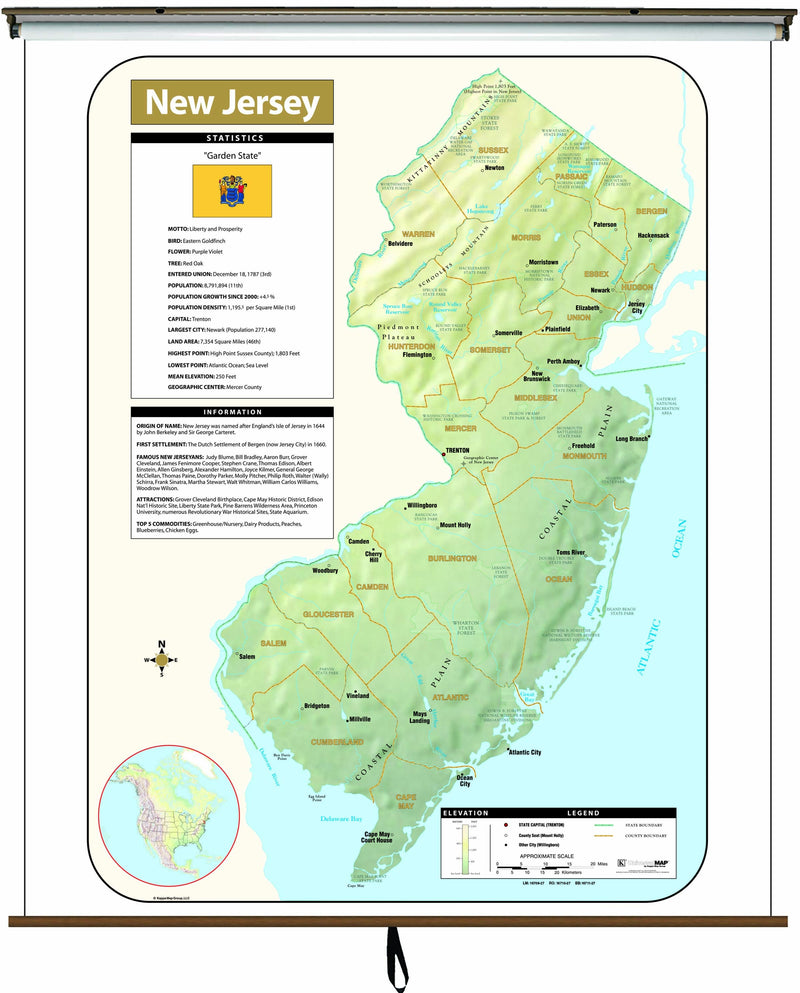 New Jersey Large Scale Shaded Relief Wall Map on Roller with Backboard