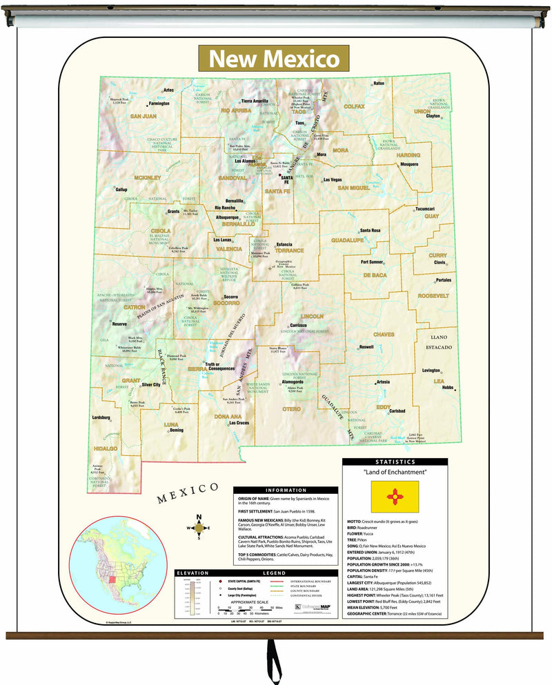 New Mexico Large Scale Shaded Relief Wall Map on Roller with Backboard