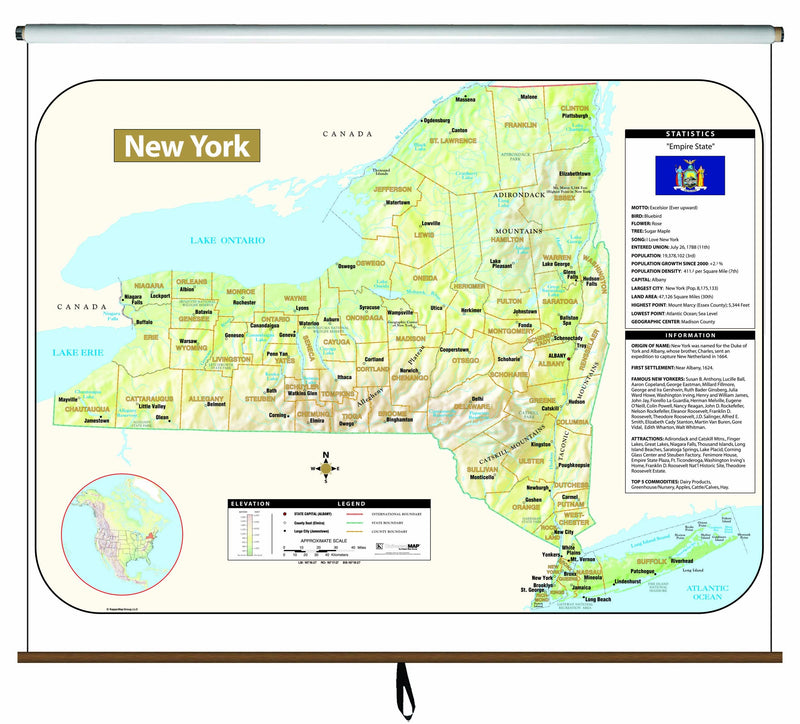 New York Large Scale Shaded Relief Wall Map on Roller