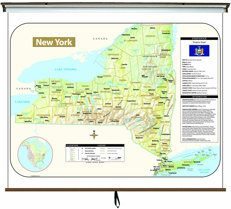 New York Large Scale Shaded Relief Wall Map on Roller with Backboard