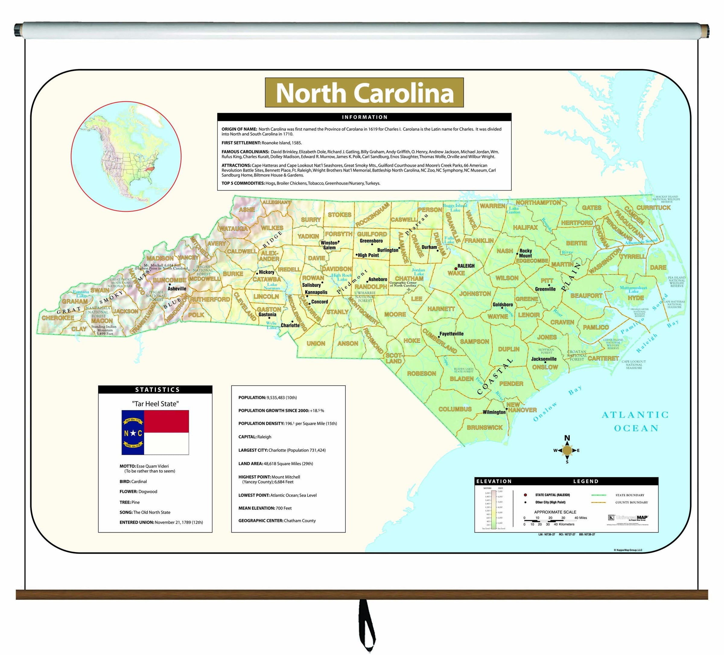 North Carolina Large Scale Shaded Relief Wall Map on Roller
