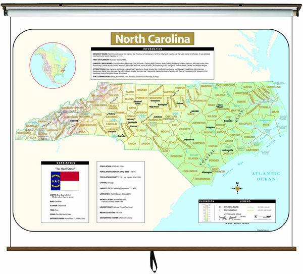 North Carolina Large Scale Shaded Relief Wall Map on Roller with Backboard