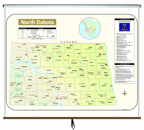 North Dakota Large Scale Shaded Relief Wall Map on Roller
