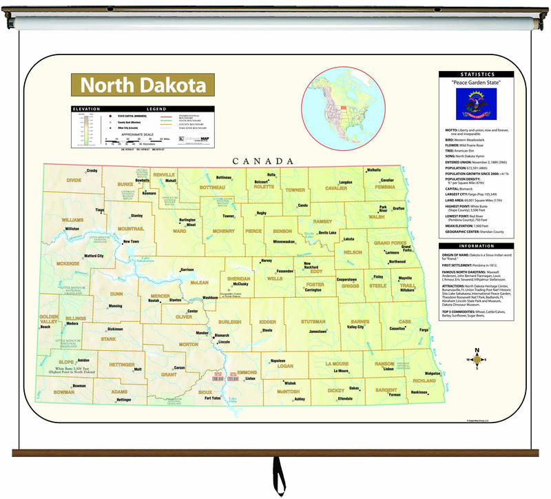 North Dakota Large Scale Shaded Relief Wall Map on Roller with Backboard