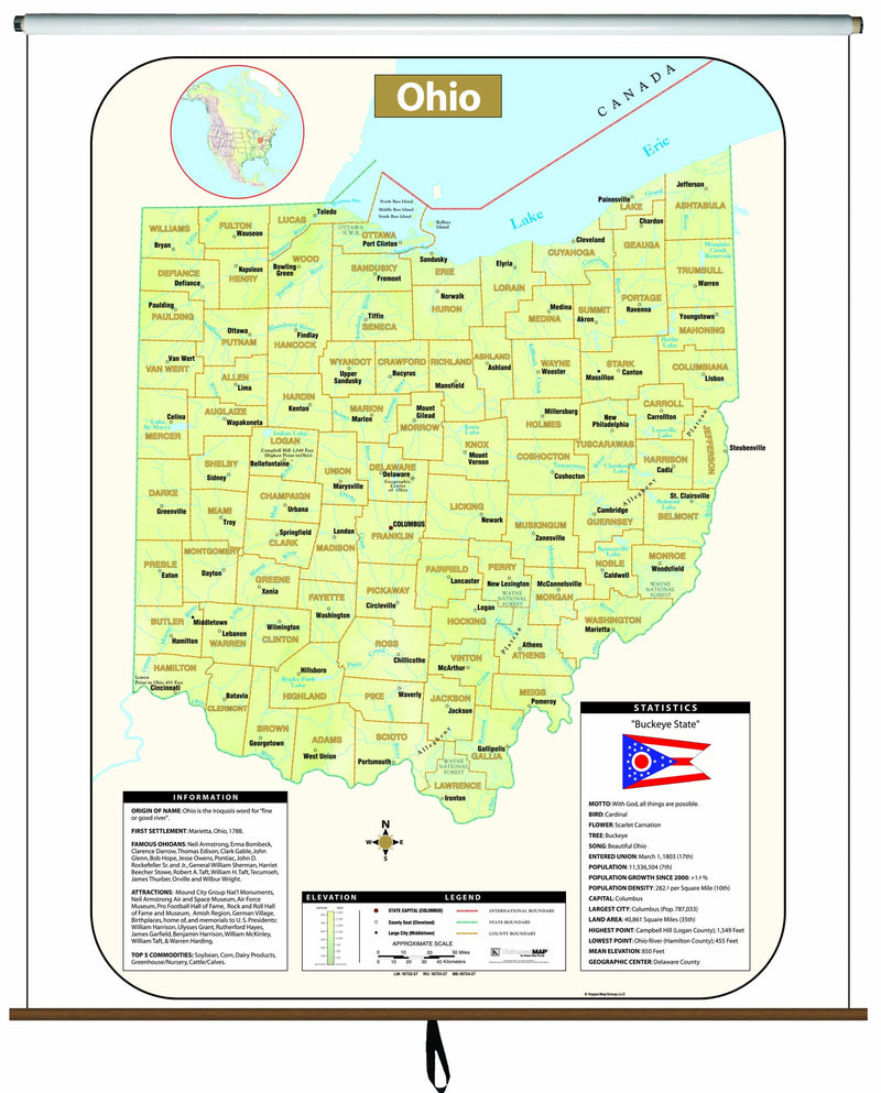 Ohio Large Scale Shaded Relief Wall Map on Roller