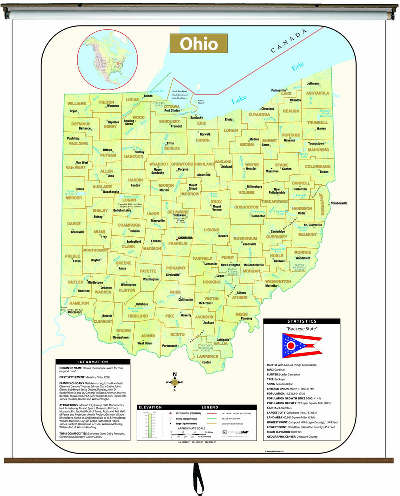 Ohio Large Scale Shaded Relief Wall Map on Roller with Backboard