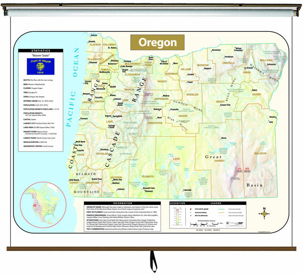 Oregon Large Scale Shaded Relief Wall Map on Roller with Backboard