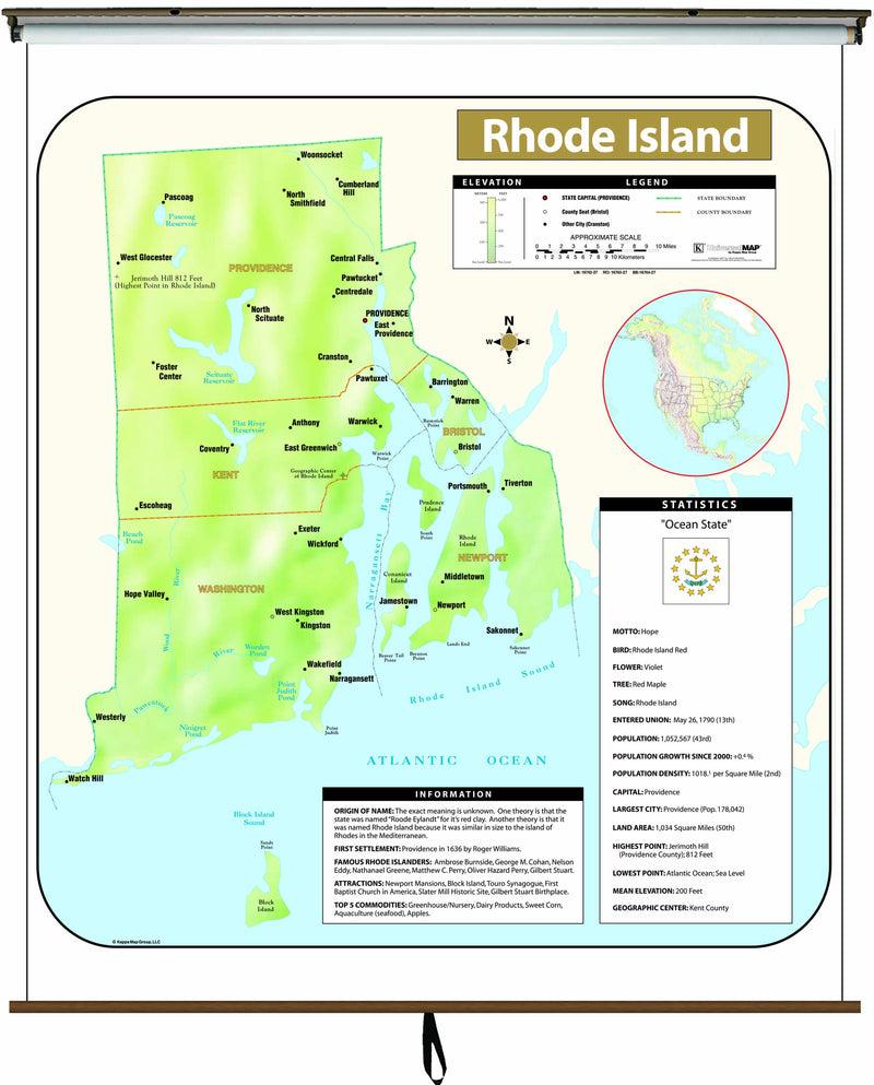 Rhode Island  Large Scale Shaded Relief Wall Map on Roller with Backboard