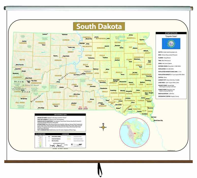 South Dakota Large Scale Shaded Relief Wall Map on Roller