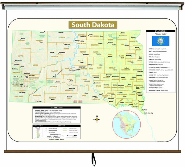 South Dakota  Large Scale Shaded Relief Wall Map on Roller with Backboard
