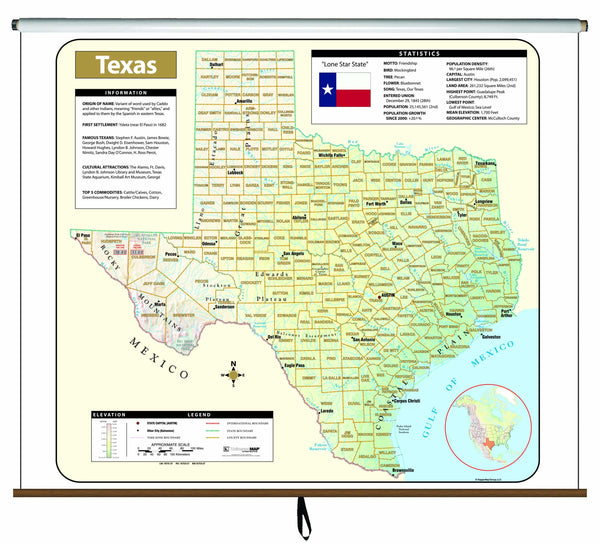 Texas Large Scale Shaded Relief Wall Map on Roller