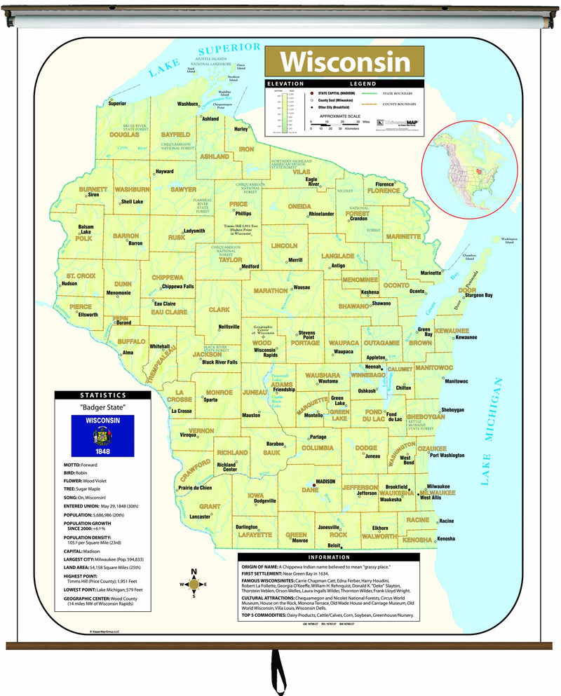 Wisconsin Large Scale Shaded Relief Wall Map on Roller with Backboard