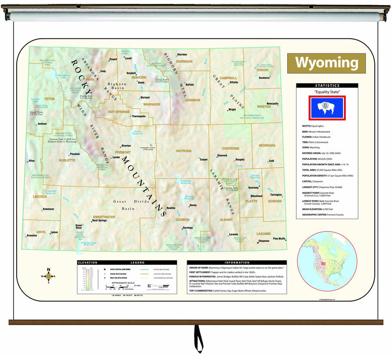 Wyoming Large Scale Shaded Relief Wall Map on Roller with Backboard