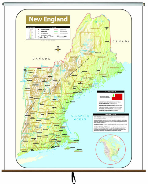 New England Shaded Relief Wall Map on Roller
