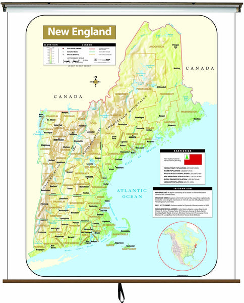 New England Shaded Relief Wall Map on Roller w/ Backboard
