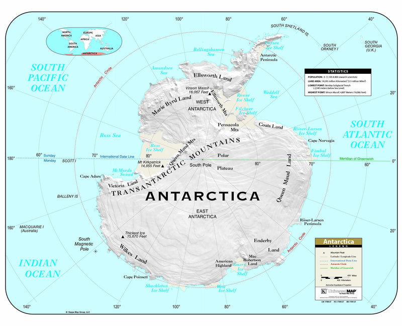 Antarctica Shaded Relief Wall Map