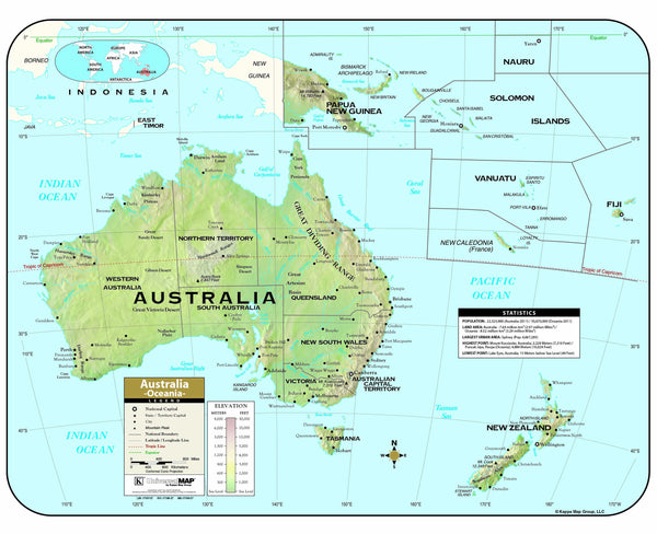 Australia Shaded Relief Wall Map
