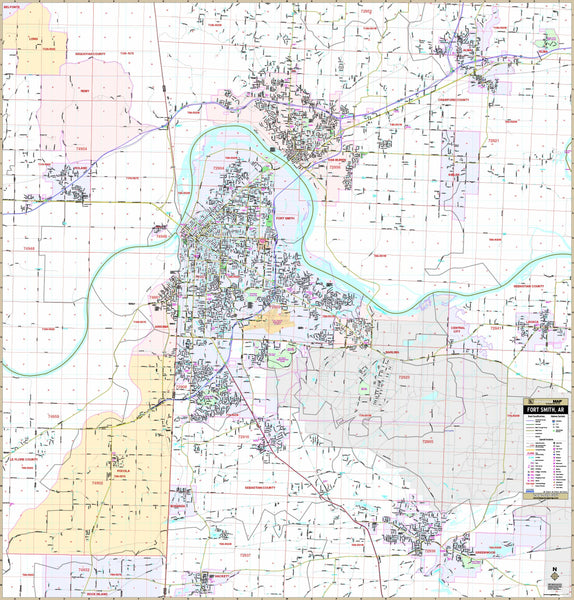 Fort Smith, Arkansas Wall Map