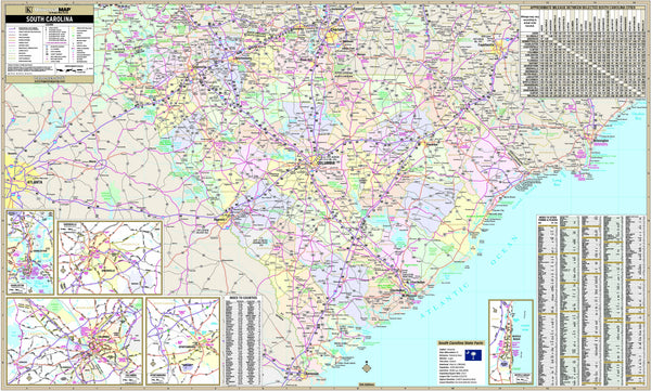 South Carolina State Wall Map