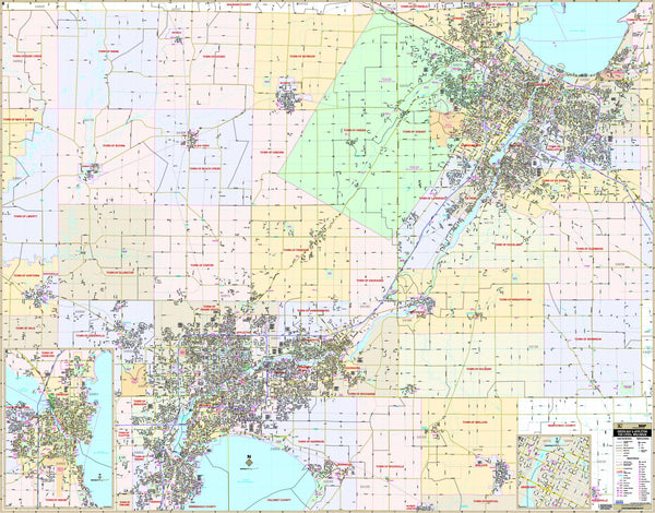 Fox Cities, WI Wall Map