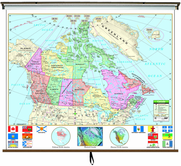 Canada Primary Wall Map on Roller w/ Backboard