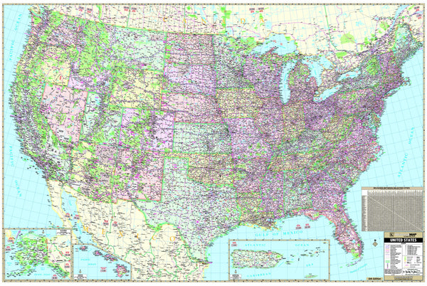 US Wall Map (140x92.5) Laminated