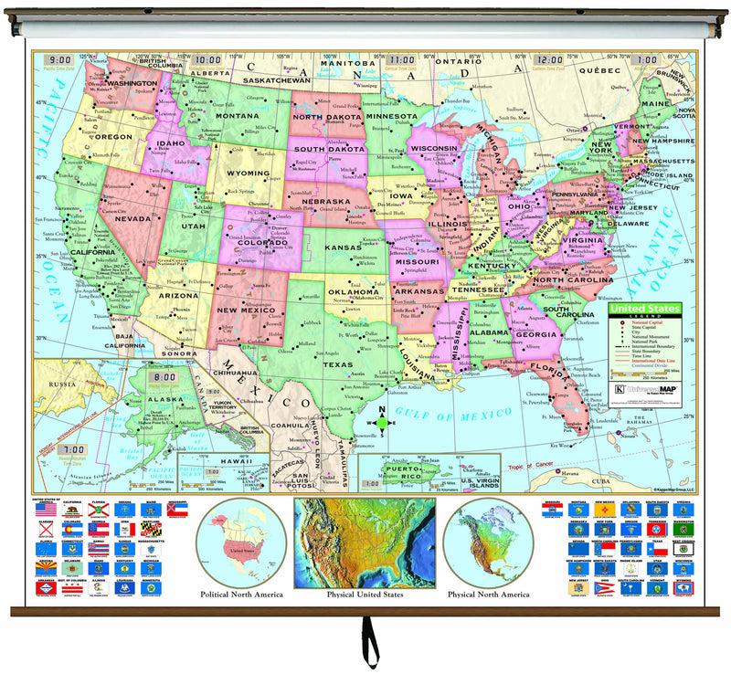 US Primary Classroom Wall Map on Roller w/ Backboard
