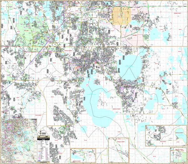 Osceola Co & Kissimmee, FL Wall Map