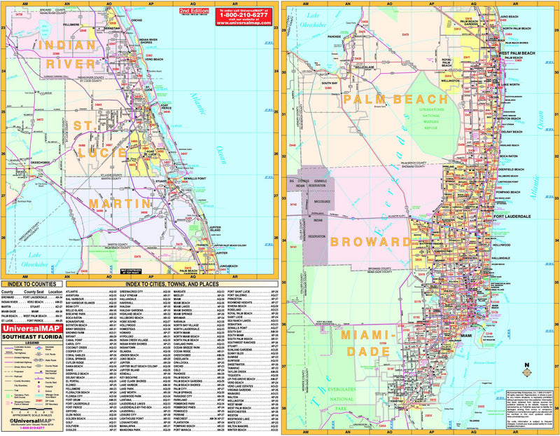 Florida State Southeast Regional Wall Map