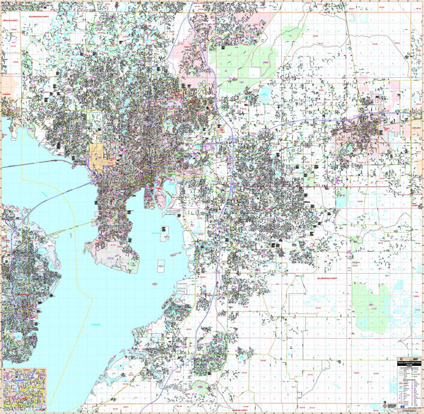 Tampa and Hillsborough Co, FL Wall Map