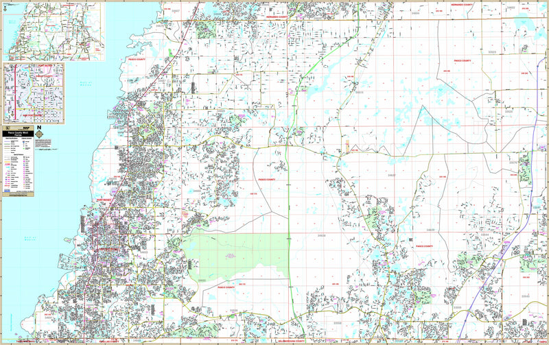 Pasco County, FL West Wall Map