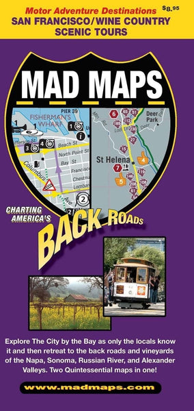 Vintage San Francisco and Wine Country Back Roads Map by Mad Maps