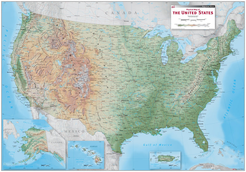 USA Physical Wall Map