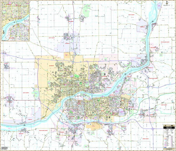 Quad Cities, IA Wall Map