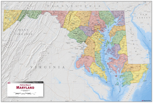 Maryland Political Wall Map