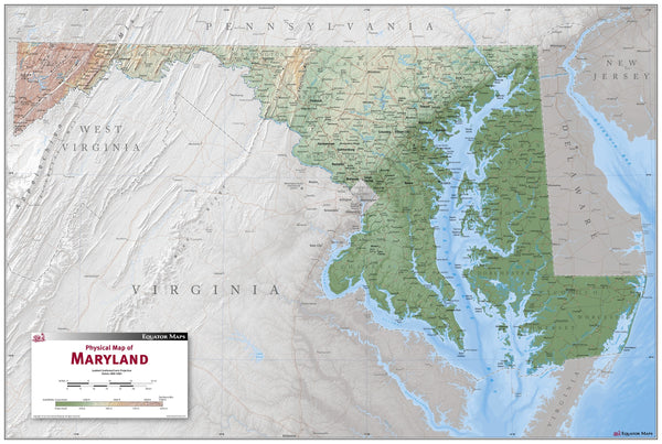 Maryland Physical Wall Map