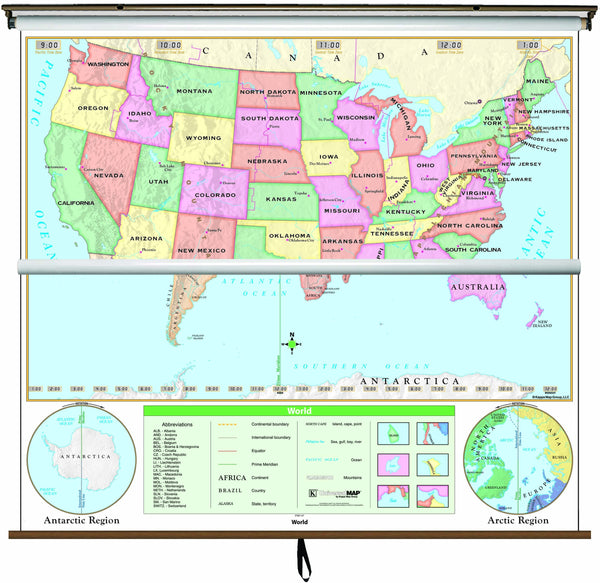 US/World Beginner Combo Classroom Wall Map on Roller w/ Backboard