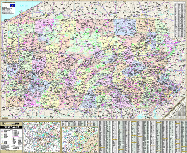 Pennsylvania State Wall Map